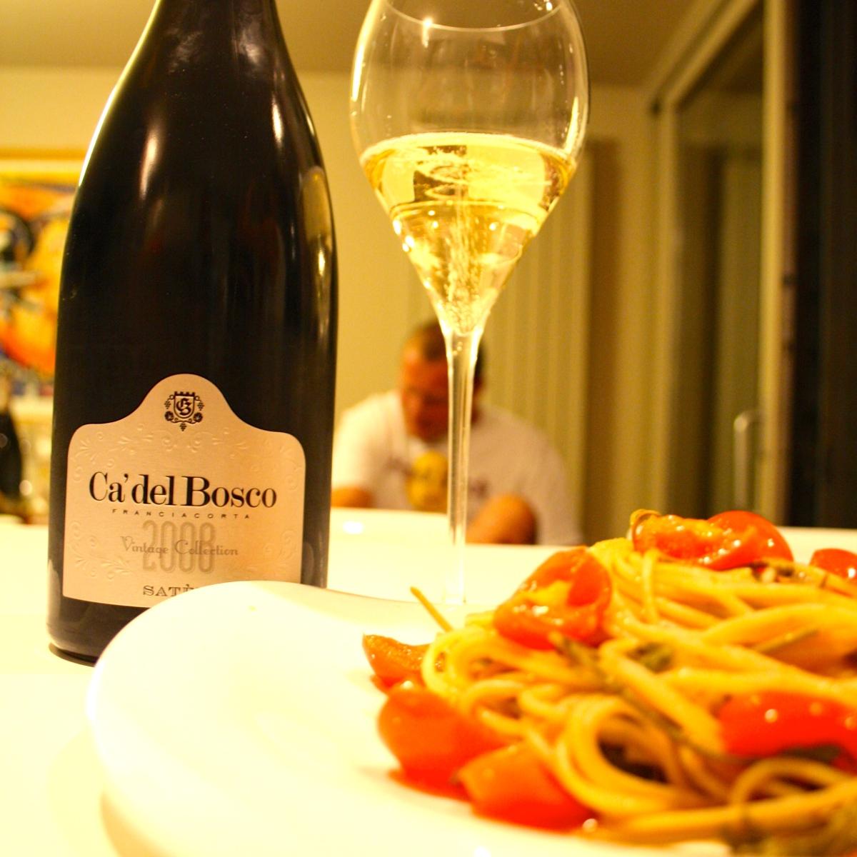 Spaghetti con cime di vigna e Franciacorta Ca' del Bosco Vintage Collection Satèn 2008