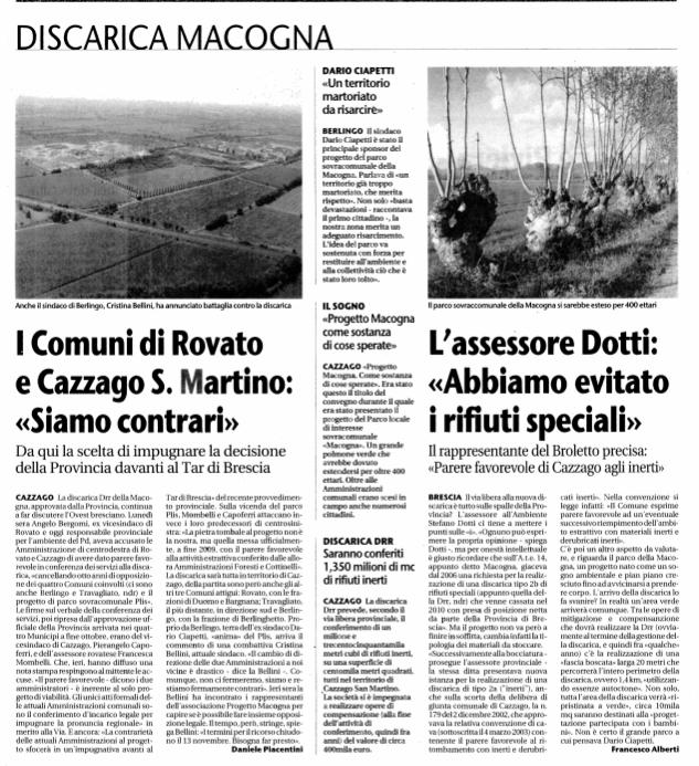 Discariche, Brescia, Franciacorta