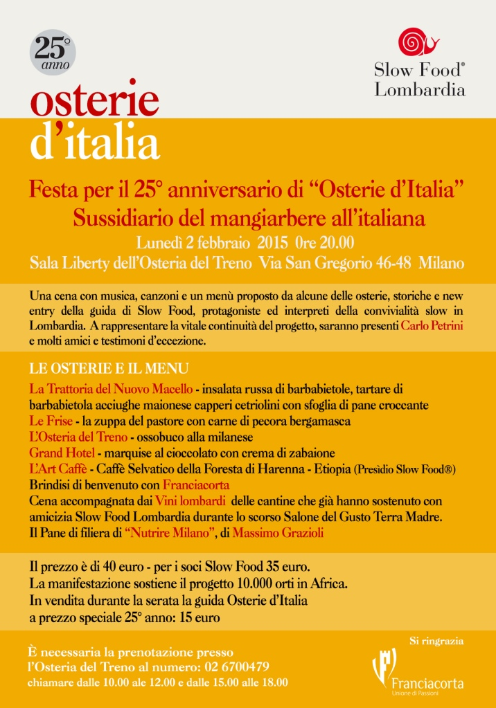 locandina 25 anni osterie slow food